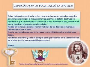 Oracion por la paz en el mundo, niños de corazon cristico
